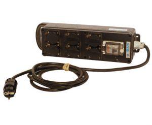 Barrette de 6 prises + disjoncteur différentiel