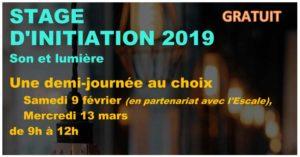 Découverte des matériels son et lumière (9-02 / 13-03-2019)